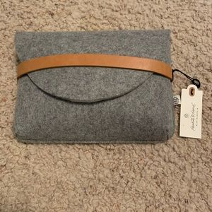 Hearth and hand felt and leather clutch